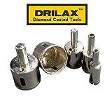 "Drilax™ 5 Pcs Diamond Drill Bit Set 3/4"", 1"", 1 1/4"", 1 3/8"", 1 1/2"" - Wet Cutting Tiles, Glass, Fish Tanks, Marble, Granite, Ceramic, Porcelain, Bottles, Quartz, Lot 5 Diamond Coated Hole Saws- Kitchen, Bathroom, Shower, Faucet"
