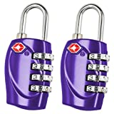 2 x TRIXES 4-Dial TSA Combination Padlock for Luggage Suitcases and Travel Purple