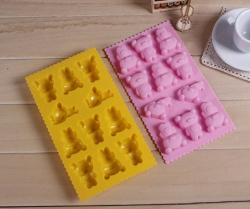 Dgi Mart Party Supplies 11-Cavity Adorable Little Bear Shaped Ice Cake Chocolate Sugar Decorating Silicone Mini Cube Craft Fondant Mold Tray(Colour By Random)
