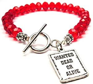 Wanted Dead or Alive Red Crystal Beaded Toggle Bracelet