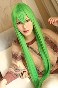 CODE GEASS CC Light gold green Cosplay wig /100CM long + free green wig cap