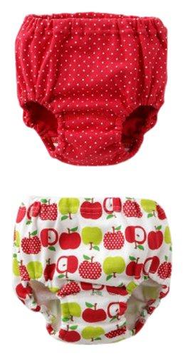(チャックル) chuckle ドット&リンゴ柄防水布付きトレーニングショーツ2枚組 レッド 90cm W4617-90-21