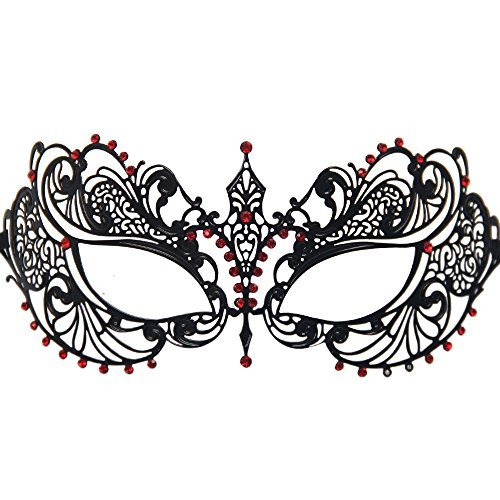 Signstek Black Venetian Luxury Style Metal Filigree Princess Masquerade Mask (Black/Red Stones)