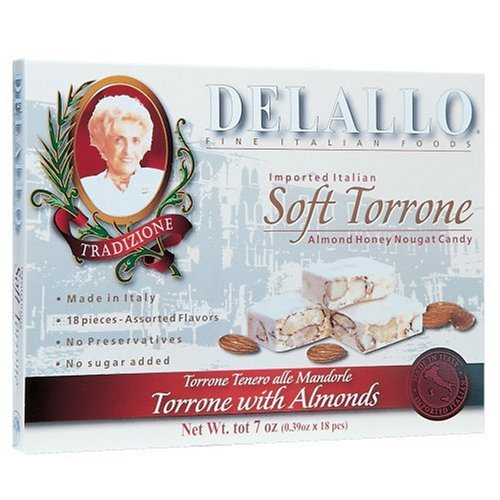 DeLallo Soft Torrone Almond Honey Nougat Candy, 18 Pieces, 7-Ounce Unit (Pack of 3)