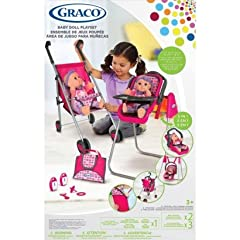Graco Deluxe 5-In-1 Baby Doll Accessory Playset: 13 Pc. with Stroller High Chair Baby Swing Travel Seat Rear-Facing Stroller Seat Front Carrier and Accessories for 16-18 Dolls
