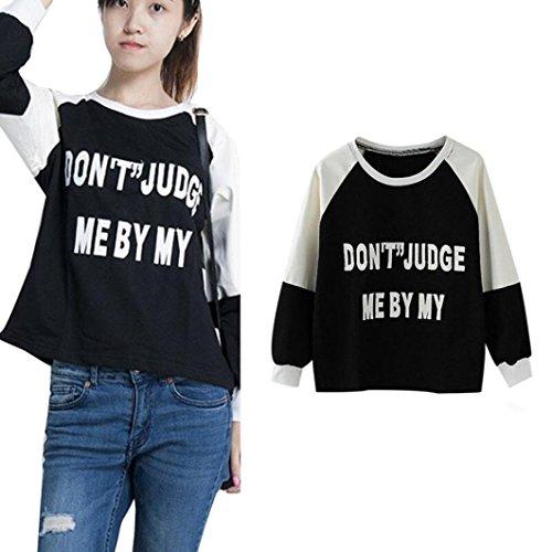 Fheaven Fashion Women Long Sleeve Letter Print Casual Loose Tops Sweatshirt Blouse (L, Black)