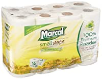 Marcal Small Steps MRC1646616PK 2-Ply, 100-Percent Premium Recycled Toilet Tissue, 168 Sheets per Roll (Pack of 16 Rolls) from Marcal