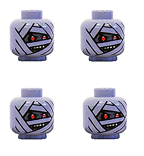 Lego Minifigure Mummy Head, Set of 4, Grey