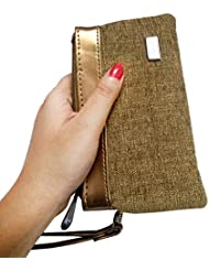 Shopoholics Small Size Purse/Batwa For Ladies To Small Things,With Detachable Strap To Carry (Brownish Golden)
