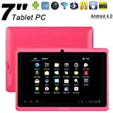 WolVol NEW (Android 4.0 - 1GB RAM) Ultra-Thin HOT PINK 7inch Tablet PC Touch Screen, WiFi and Camera with Google Play, Flash Player (Includes: Velvet Pouch Case, Touch Pen, Charger, Screen Protector)