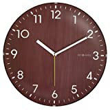 DecoMates Non-Ticking Silent Wall Clock - Dome Wooden (Brown)