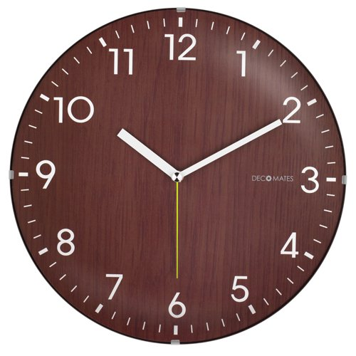 DecoMates Non-Ticking Silent Wall Clock, Dome Wooden, Brown
