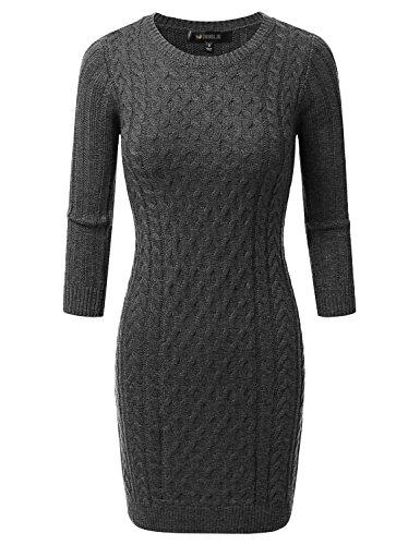 Doublju Womens 3/4 Sleeve Cable Knit Longline Tunic Sweater Dress CHARCOAL LARGE
