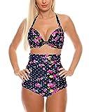 Cocoship Flora Polka Vintage High Waisted Bikini Swimsuits Swimwear(FBA)