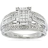 10k White Gold Diamond Ring (1/2 cttw, I-J Color, I2-I3 Clarity)
