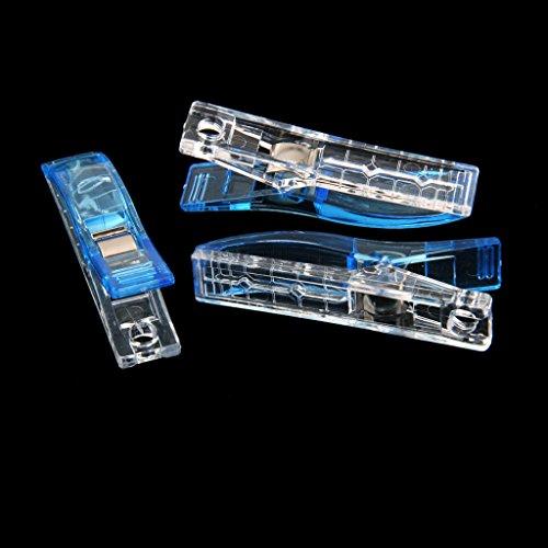 Lot de 50Pcs Clips Pinces en Plastique pour Reliure Couture Artisanat 5.6cm*1.2cm Bleu et Transparent