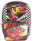 Pixar Disney Cars Boys 16 Inch Backpack with Lunch Box Kit Rev It Up!