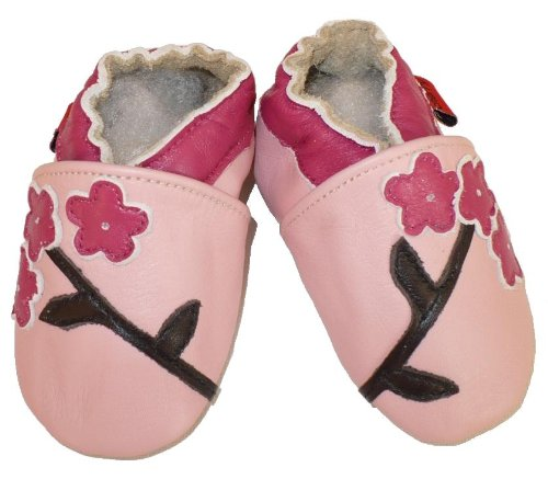 Soft Leather Baby Shoes Pink Flower 12-18 Months