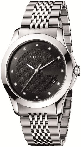 Gucci Men's YA126405 G-Timeless Medium Diamond Marker Black Dial Watch