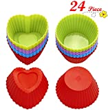 Chefaith 24-Pcs Reusable Silicone Baking Cups, Cupcake Liners, Muffin Cups [12 Heart-Shaped & 12 Round Cups, Each with 4 Colors] - Non-Stick, Heat Resistant (Up to 480°F) Mini Baking Molds, Food Grade