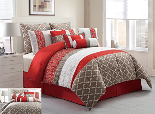 Great  Piece Cal King Amarta Coral and Taupe Reversible Bed in a Bag Set