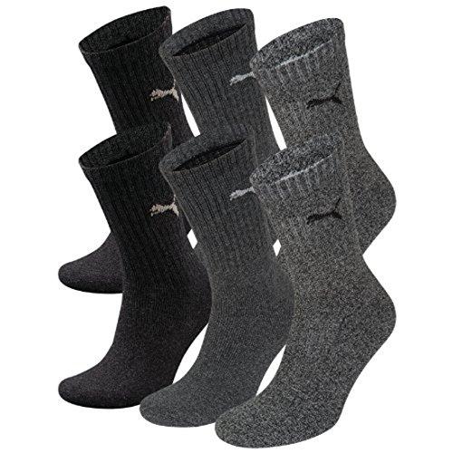 PUMA Unisex Crew Socks Socken Sportsocken MIT FROTTEESOHLE 6er Pack (anthracite / grey, 43-46)