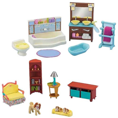 Fisher-Price Loving Family Dollhouse Living Room and Bathroom Furniture Set