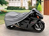 SUPERIOR 4 LAYER MATERIAL 100% WATERPROOF MOTORCYCLE BIKE COVER COVERS : FITS UP TO LENGTH 90″ – ALL SPORT BIKES AND SMALL TO MEDIUM CRUISER BIKES – YAMAHA, HONDA, SUZUKI, KAWASAKI, DUCATI, BMW, APRILIA, TRIUMPH, BUELL, SPORT MOTORCYCLE COVERS