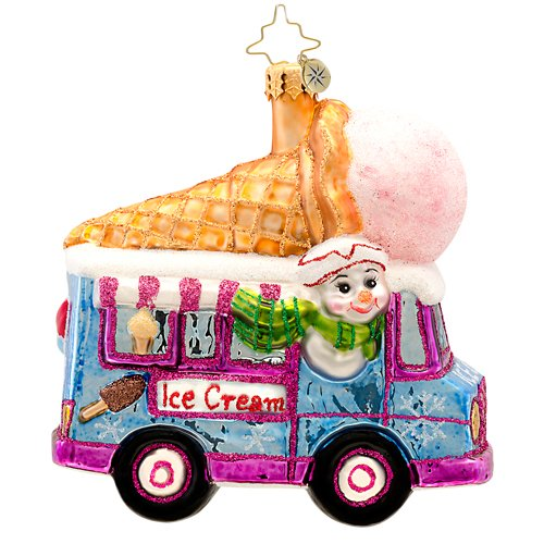 Christopher Radko Ice Scream, You Scream Glass Christmas Ornament 2014
