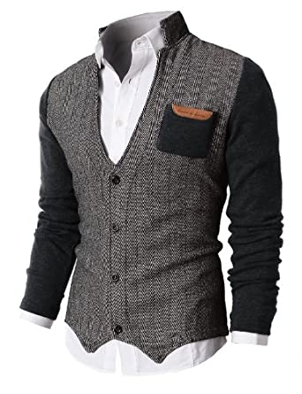H2H Mens Herringbone Cardigan Sweater Of Knitted Sleeves CHARCOAL US L/Asia XL (KMOSWL015)
