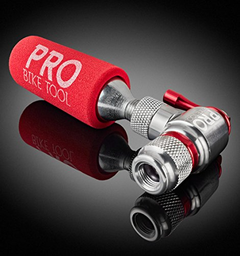 CO2 Inflator By PRO BIKE TOOL - Quick & Easy - Presta & Schrader Valve Compatible - Bicycle Tire Pump For Road & Mountain Bikes - Insulated Sleeve -