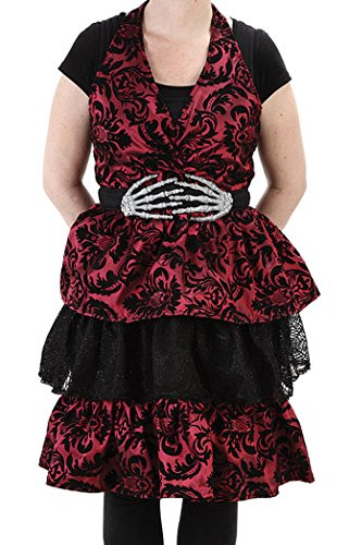 [Halloween Fantasy Wine Red and Black Halter Glitter Apron] (Man Hooters Costume)