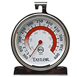 Taylor 5932 Oven Thermometer, Dial, 100-600 F degree, Stainless, NSF