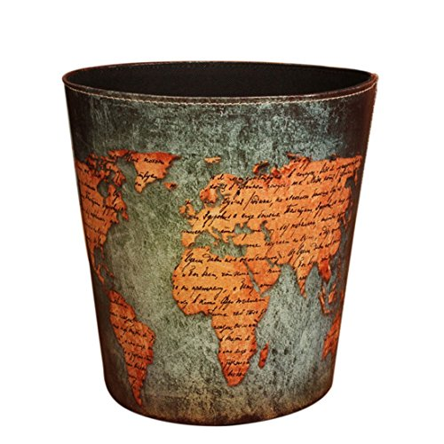 Wastebasket,Sam Young European Style World Map Pattern PU Leather Paper Basket Trash Can Dustbin Garbage Bin. (Vintage Garbage Can compare prices)