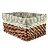 RURALITY Willow Wicker Storage Basket with Lining, Coffee Color, Large