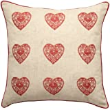 Catherine Lansfield Home Vintage Hearts Cushion Cover, Red, 45 x 45 Cm