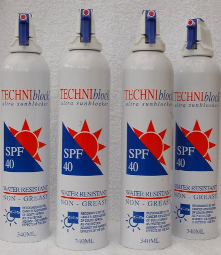 TECHNIblock Sun Spray SPF40 340ml x 4 Plus 2 FREE 75ml Pocket Sprays worth £13