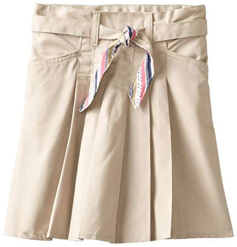 U.S. Polo Association School Uniform Big Girls'  Twill Scooter With Reversible Dot Print Belt, Khaki, 07