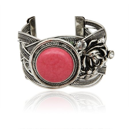 MizEllie Costume Jewellery By Any Other Name Silver Tone and Red Stone Cuff Bangle Bracelet ,Can Make An Ideal Gift With Free Elegant Organza Jewellery Pouch