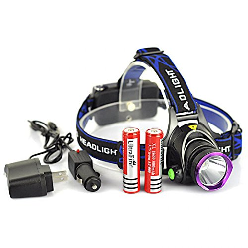 Blameless Popular 3 Modes LED 2000Lm Headlamp Zoomable Pocket Lamp Headlight Color Black with Battery Car Charger