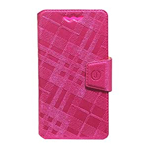Jo Jo Cover Krish Series Leather Pouch Flip Case With Silicon Holder For Celkon Millennia Q5K Power Dark Pink
