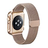 Apple Watch Band, PUGO TOP magnetérico milanese eurolazos Reemplazo de muñeca correa de acero inoxidable topfbänder para Apple Watch 42 mm astilla, para Apple Watch, 0.11 pounds, color Dorado