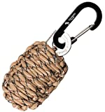"""With Sharp Eye Knife - The Friendly Swede Carabiner """"Grenade"""" Survival Kit Pull with Needle, Wire, Alcohol Pad, Tin Foil, Tinder, Fire Starter, Fishing Lines, Fishing Hooks, Weights, Swivels, Dobber Wrapped in 9ft of 500 lb Paracord in Retail Packaging - Lifetime Warranty (Desert Camo)"""