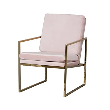 Rosa velluto poltrona comoda sedia relax lounge in ottone placcato oro finitura rame look con gambe in metallo spugna cuscino poltrone da Evahom