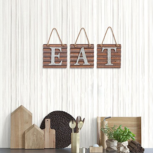 Xing Cheng Wall Metal Plaque Sign Eat Letter Sign Wavy Metal Plate for Kitchen 2