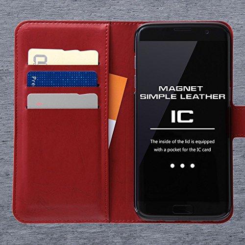 レイ・アウト Galaxy S7 edge 手帳型ケース シンプル マグネット レッド RT-GS7EELC1/R
