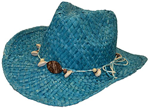 Panama Jack Womens Maize Outback Hat with Shells, Turquoise
