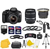 Canon EOS Rebel T5 18 MP CMOS Digital SLR Full HD Video Body with EF-S 18-55mm IS II Lens With 58mm High Definition Wide Angle Lens + Macro Close-Up Set + Auto Slave Flash + Filter Kit with 24GB Deluxe Accessory BundleDeluxe Accessory Bundle