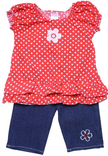 Coney Island Toddler Girls Red Polka Dot Top & Denim Capari Jeans Set4T front-141299