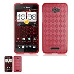 HTC Droid DNA 6435 Red Transparent TPU Crystal Skin Case